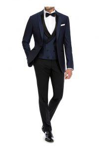 Blå smoking jakke og vest